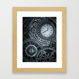 Silver Steampunk Clockwork Framed Art Print