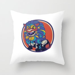 Asian Lion Shisa Throw Pillow