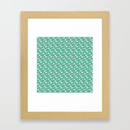 Happy Mail Hearts on Teal Framed Art Print