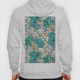 Muted Moroccan Mosaic Tiles with Palm Leaves Hoody