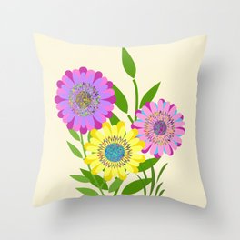 Three Fancy Flowers Throw Pillow