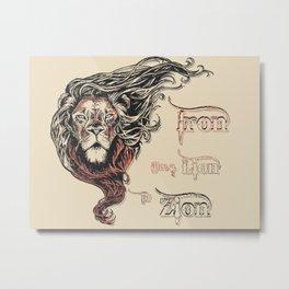 Rastafarian Iron Like Lion in Zion, peace, love, reggae music king Metal Print