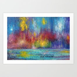 Abstract sea night landscape. Oil pastel Art Print