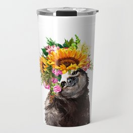 Sloth with Sunflower Crown Travel Mug