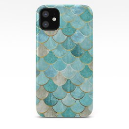 Moroccan Mermaid Fish Scale Pattern, Aqua,Teal iPhone Case