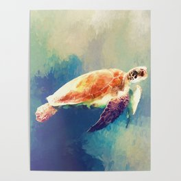 Sea Turtle Painting Poster