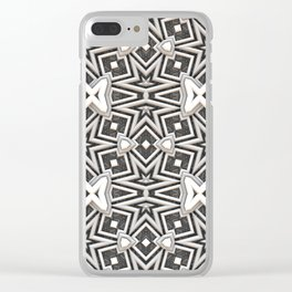 Gray to White - Tribal Pattern Clear iPhone Case