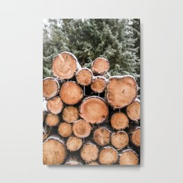 Snowy Pile of Logs, Stacked Wood, Winter Forest, Wallonia, Belgium - Travel Nature Photography Metal Print