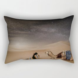 Desert Rest (Woman & Camel Landscape) Rectangular Pillow
