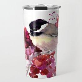 Chickadee and Berries Travel Mug