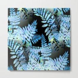 Seamless Blue Leaves Metal Print