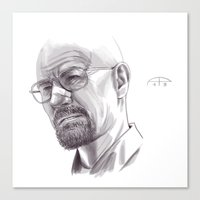walter white Canvas Prints featuring Walter White by Alessia Pelonzi