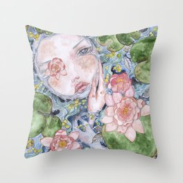 Watercolor doll in the water Throw Pillow