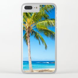 Coconut Palm tree on the sandy Poipu beach in Hawaii, Kauai Clear iPhone Case