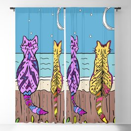 Cats on a fence by the sea Blackout Curtain