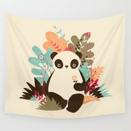Flower Panda Wall Tapestry