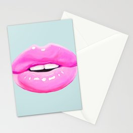 Fashion pink lips Stationery Cards