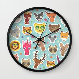 funny animals muzzle. Teal background with stars, Polka dot. Vector illustration Wall Clock