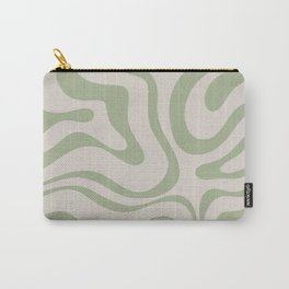 Liquid Swirl Abstract Pattern in Almond and Sage Green Carry-All Pouch