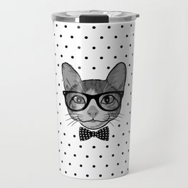 Cat Hipster With Bow Tie - Polka Dots Pattern Travel Mug