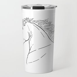 Horse head, black and white realistic illustration. Travel Mug