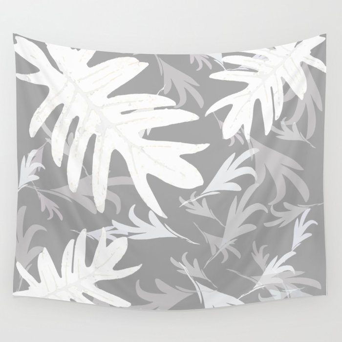Trio palm leaves. White, silver, light-grey, tropical, autumn, fall, pattern, society6 Wall Tapestry