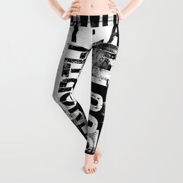 East South North West Black White Grunge Typography Leggings