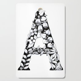 Floral Pen and Ink Letter A Cutting Board
