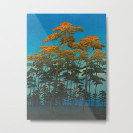 Vintage Japanese Woodblock Print Art Print Tall Sunset Trees Silhouette Twilight Forest East Asian Metal Print