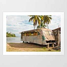 Playa Larga Bus Cuba Beach Hobo House Landscape Tropical Island Home Caribbean Sea Art Print