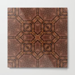 Victorian Art Deco Medieval Pattern dark brown SB33 Metal Print