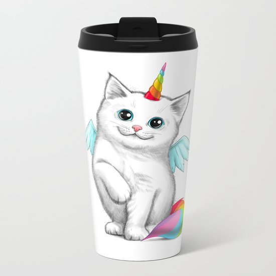 Cat unicorn Metal Travel Mug