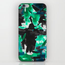 psychedelic vintage camouflage painting texture abstract in green and black iPhone Skin