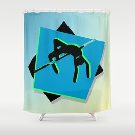 High-level jumper in the athletics Shower Curtain