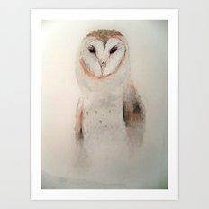 Owl in the fog Art Print
