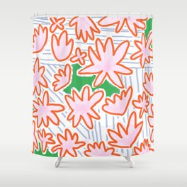 Flowers, lines & green Shower Curtain