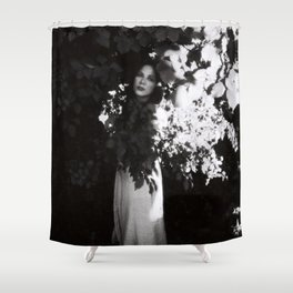 Girl in black and white Shower Curtain