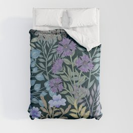 Watercolor Jungle with surreal lush foliage and Flowers Tropical Comforters