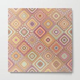 Granny's Millefiori Quilt-Spring Colors Metal Print