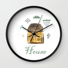 Cute Winter Icon with House and CLoud Wall Clock