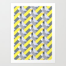 Herringbone geometric yellow Art Print