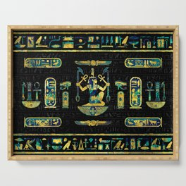 Egyptian  Gold and Blue Marble Ornament Serving Tray