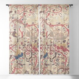 Heriz Azerbaijan Northwest Persian Silk Animal Rug Print Sheer Curtain