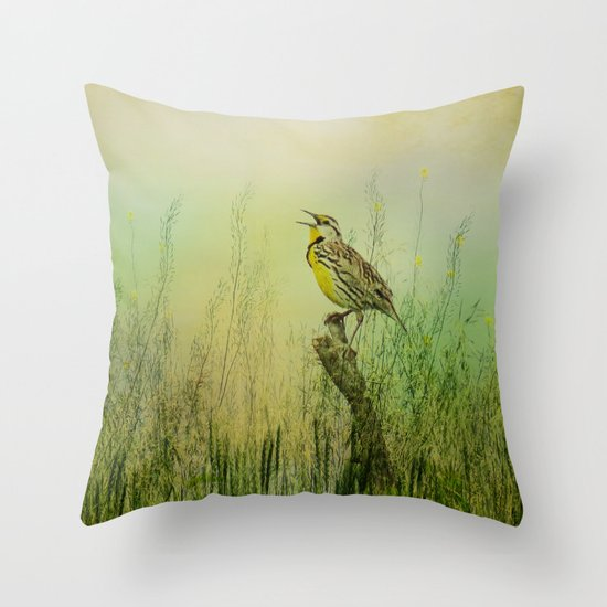The Meadow Lark Sings Throw Pillow