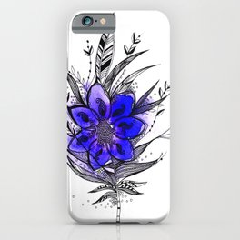 Blue Flower Feather iPhone Case
