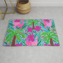 Beach Party with Palms and Flamingos Rug