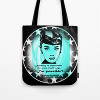 audrey Tote Bags featuring Audrey by SwanniePhotoArt