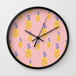 Pineapple Memphis #pineapple #pink Wall Clock