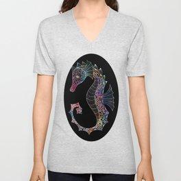 Drawn Seahorse on Black Unisex V-Neck
