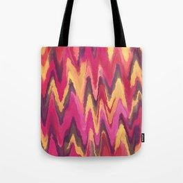 Abstract modern pink yellow brown ikat pattern Tote Bag